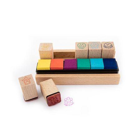MOTIVATION Holz-Lehrerstempel im Tischaufsteller mit integrierten Stempelkissen 13-teilig