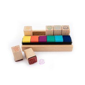 Holz-Lehrerstempel im Tischaufsteller mit integrierten Stempelkissen 13-teilig