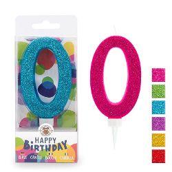 BIRTHDAY FUN Zahlenkerze 0 Glitter Maxi, 6-fach sortiert
