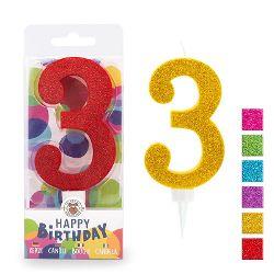 BIRTHDAY FUN Zahlenkerze 3 Glitter Maxi, 6-fach sortiert