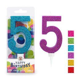 BIRTHDAY FUN Zahlenkerze 5 Glitter Maxi, 6-fach sortiert