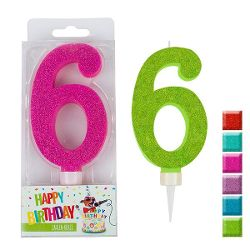 BIRTHDAY FUN Zahlenkerze 6 Glitter Maxi, 6-fach sortiert