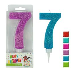 BIRTHDAY FUN Zahlenkerze 7 Glitter Maxi, 6-fach sortiert