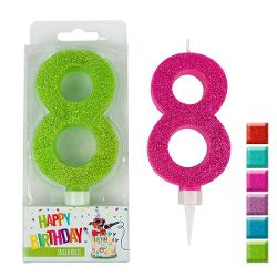BIRTHDAY FUN Zahlenkerze 8 Glitter Maxi, 6-fach sortiert