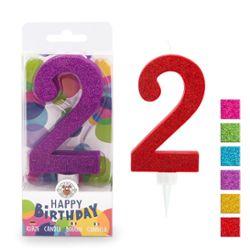 BIRTHDAY FUN Zahlenkerze 2 Glitter Maxi, 6-fach sortiert