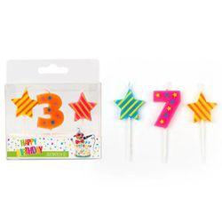 BIRTHDAY FUN Zahlen- und Sterne-Kerzen im 3er Set, sortiert