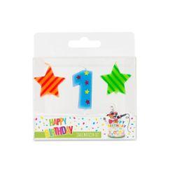 BIRTHDAY FUN Zahl- und Sterne-Kerzen Nr. 1 im 3er-Set, sortiert