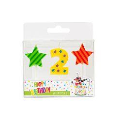 BIRTHDAY FUN Zahl- und Sterne-Kerzen Nr. 2 im 3er-Set, sortiert