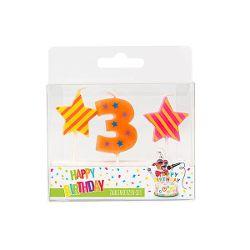 BIRTHDAY FUN Zahl- und Sterne-Kerzen Nr. 3 im 3er-Set, sortiert