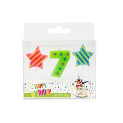 BIRTHDAY FUN Zahl- und Sterne-Kerzen Nr. 7 im 3er-Set, sortiert