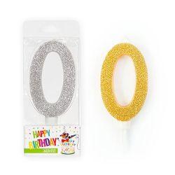 BIRTHDAY FUN Zahlenkerze 0 Glitter Maxi silber & gold