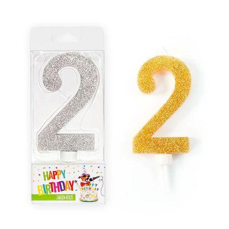 BIRTHDAY FUN Zahlenkerze 2 Glitter Maxi silber & gold
