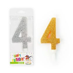 BIRTHDAY FUN Zahlenkerze 4 Glitter Maxi silber & gold