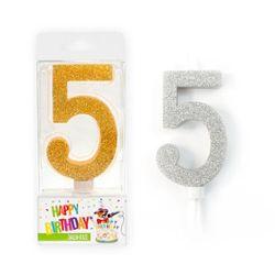 BIRTHDAY FUN Zahlenkerze 5 BIRTHDAY FUN Zahlenkerze 5 Glitter Maxi silber & gold Glitter Maxi silber & gold, 2-fach sortiert