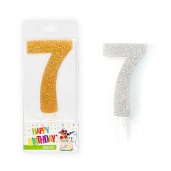 BIRTHDAY FUN Zahlenkerze 7 Glitter Maxi silber & gold