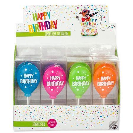 BIRTHDAY FUN Stabkerze- Luftballon, 6-fach sortiert