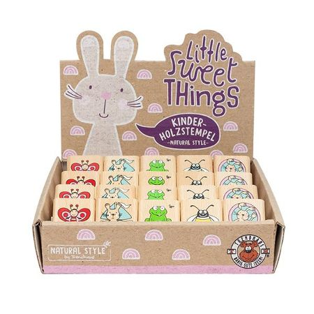 LITTLE SWEET THINGS Kinder-Holzstempel 3x3cm Natural-Style, 5-fach sortiert