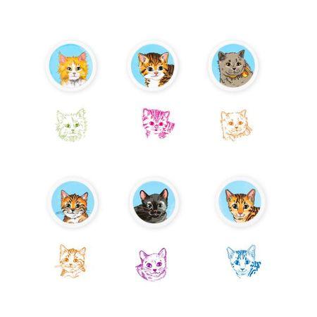 Katzenrassen Stempel selbstfärbend, 6-fach sortiert