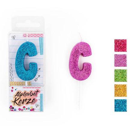 FESTIVAL FEELINGS Alphabet Kerze Glitzer C, 5-f. sort.