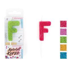 FESTIVAL FEELINGS Alphabet Kerze Glitzer F, 5-f. sort.