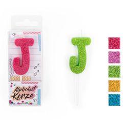 FESTIVAL FEELINGS Alphabet Kerze Glitzer J, 5-f. sort.