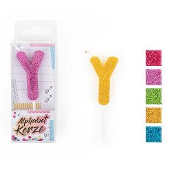 FESTIVAL FEELINGS Alphabet Kerze Glitzer Y, 5-f. sort.