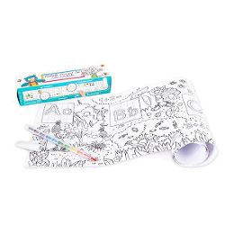 Painting roller learning fun set, numbers and letters, incl. multicolour pencil with eraser cap, 1.80 m long