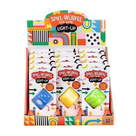 DESIGN & ART Spiel-Würfel Light-Up 4cm, 4-fach sortiert