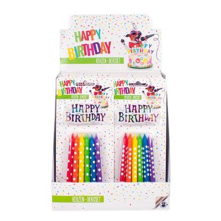 BIRTHDAY FUN Geburtstagskerzen Deko-Set Rainbow 13-teilig, 2-fach sortiert