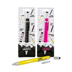 Werkzeug-Kugelschreiber mit 5 Tools, 3-fach sortiert