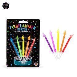 BIRTHDAY FUN Farbflammen-Kerzen 5er-Set,2-fach sortiert