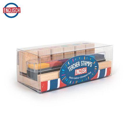 Holz-Lehrerstempel Englisch im Tischaufsteller mit integrierten Stempelkissen 13-teilg